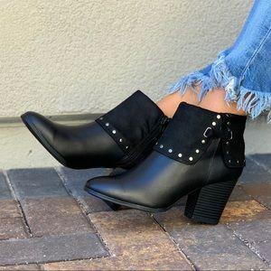 Black Ankle Studded Folded Cuff Block Heel Bootie
